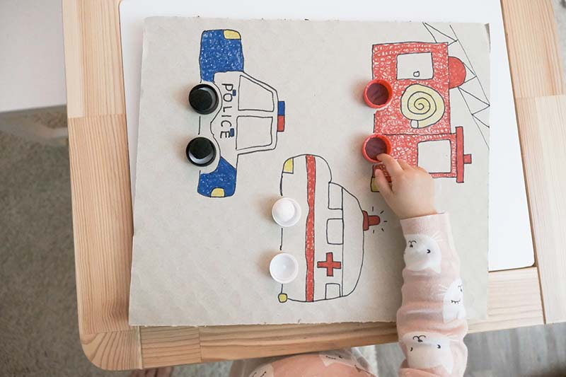 First Color Sorting Activity for Vehicle Obsessed Toddlers